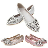 Women Elegant Rhinestone Pointed Toe Wedding Shoes Ballet Flats Bridal size 4-9