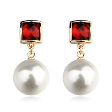 18k Rose Gold Filled Ruby Red Crystal White Pearl Dangle Earring XE101