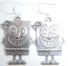 Sterling silver Hooks Earrings Gift Bag Tibetan Silver Sponge Bob Square Pants