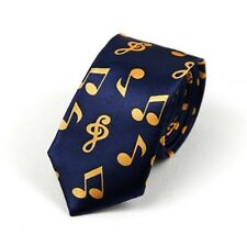 GIFTS FOR MEN Skinny Retro Mens Polyester Satin Musical Notes Music Neck Tie