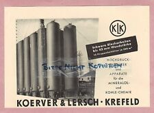 KREFELD, Werbung 1952 Koerver & Lersch Hochdruck-Behälter Mineralöl-Kohle-Chemie