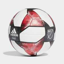Adidas MLS NFHS Top Training Soccer Ball, White / Black / Active Red, Size 4