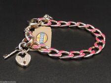 Fossil Charm Bracelet Goldtone Pink Enamel Pave Crystal Heart Charm New! NWT
