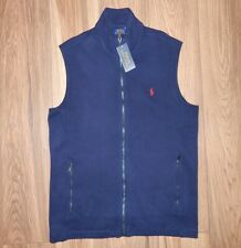 New Men's L $85 POLO RALPH LAUREN Pony Navy Zippered Ribbed Knit Layering Vest