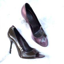 STELLA MCCARTNEY Pumps Heels Peep Toe Purple Tan 3 Inch Read Details Box And Bag
