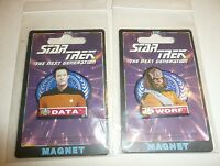 Lot of 2 Magnets - Worf and Data -  Star Trek The Next Generation 1995 NEW
