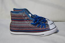 CONVERSE ALL STAR HI-TOP BLUE RED  & GREY STRIPE CLOTH SNEAKERS  WOMENS SIZE 12