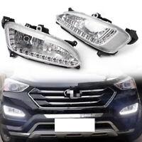 Pair LED DRL Daytime Running Light Fog Lamp For Hyundai / IX45 Santa Fe 2013 14