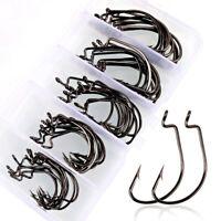 50Pcs Fishing Hooks High Carbon Steel Worm Senko Bait Jig Fish Hooks+Box US
