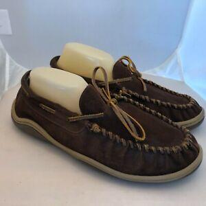 Rockport Sheepskin Mens 11 Suede Shearling Moccasin Slippers Slip On Shoes Brown