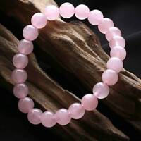 Natural 8mm Gorgeous Rose Quartz Healing Crystal Stretch Beaded Bracelet Unisex