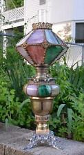 Antique RARE American Lamp & Brass Co. Unique Slag Glass Oil Lamp GWTW