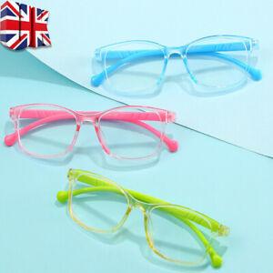 UK Anti Blue Light Reading Glasses Frames Kids Children Computer Game Age 0-10