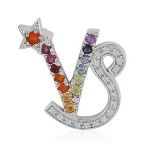 Capricorn Fire Opal w/ Multi Gemstone Pendant Necklace Platinum over 925