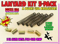 Duck Call LANYARD KIT 5-PACK w/Black Springs &  Metal Fold Over Crimps