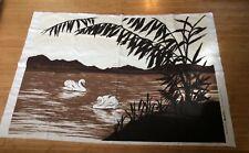 "Swan Lake 51""x37"" Original Screen Printed Design by Graphic Prints USA 1981 Mint"