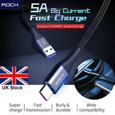 Rock USB C Type-c Braided 5a Fast Charging Data Cable F Samsung S10 Note 9 8 LG