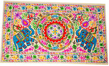 Indian Wall Hanging Wool Elephant Embroidery Throw Hippie Tapestry Suzani White