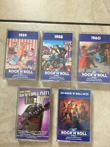 5 Rock N Roll Music Cassette Tapes Playing Perfectly