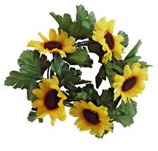 "Sunflower 6.5"" Candle Ring 3.5"" Opening Pillar Taper Home Kitchen Flower Decor"