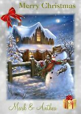 personalised Christmas card Snowman  Any name/relation