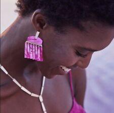 New-Kendra Scott-Layne Statement Earrings In Magenta Mother of Pearl NWOT