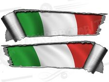 Pair of Rolled Back Ripped torn Metal Effect Italian Flag   Vinyl Car Stickers