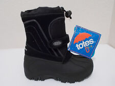 NEW BOY TOTES TRENT WATERPROOF BLACK LEATHER WINTER SNOW BOOTS SZ 10 TODDLER $50