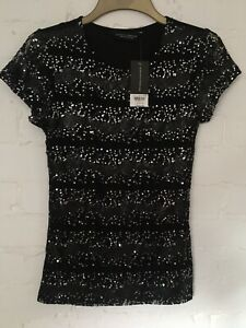 Ladies Dorothy Perkins Sequin Black Short Sleeve Top/ Blouse Size 10 RRP£20