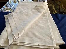 Antique Irish Linen 66x116 Hemstitched Banquet Tablecloth Damask Wild Rose Ferns