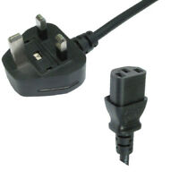 5m Long IEC Kettle Lead Power Cable PC Monitor TV C13 Cord 5 Metre 3 Pin UK Plug