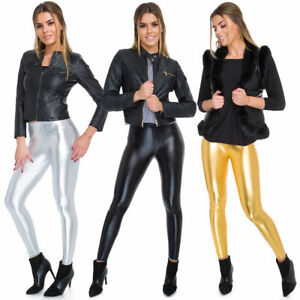 Womens Faux Leather High & Classic Waisted Leggings Metalic Colours Gold Silver