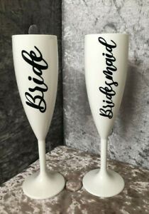 Bridal Champagne Flutes Hen do wedding party Bride To Be Bridesmaid celebration