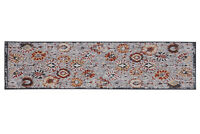 Distressed, Floral Runner - 2'x 8', Light Grey, Oriental Traditional Rug - 507