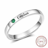 Personalisierter Name echt 925 Sterling Silber Ring Geburtsstein edlen Schmuck.