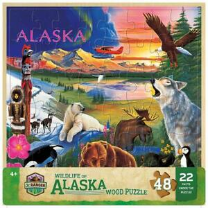 Masterpieces - Wood Fun Facts Alaska Wildlife Jigsaw Puzzle (48 Pieces)