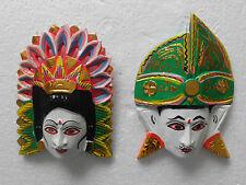 Multicolores Masque en bois de Bali Rama Sita, NMST66X