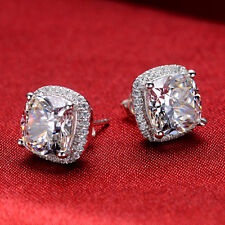 2Ct/Piece White Gold Finish Cushion Cut Halo Style Sona Diamond Stud Earrings