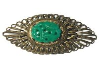 Antique Art Nouveau CARVED Jade In Brass Filigree BROOCH PIN