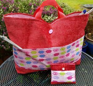 Knitting Bag Large Red, Little Piggies Pockets, Free Sewing Kit, Organiser, Tote