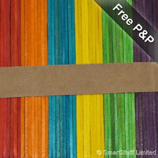 Wooden Rainbow Coloured Lolly / Lollipop Sticks Crafts & Model Making - Qty 50