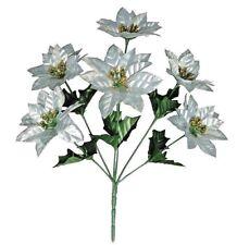 "Silve Poinsettia 14"" Picks (Box of 24) Holidays Christmas Craft Floral Decor NEW"