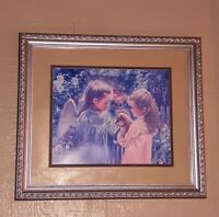 Vintage Home Interiors Homco Girl & Puppy Angel Girl Garden Framed Picture Art