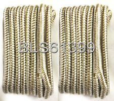 "(2) White & Gold Double Braided 3/8"" in x 15' ft HD Boat Marine Dock Line Ropes"