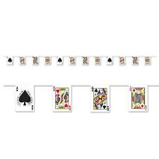 Playing Card Pennant Banner - 12ft long - All Weather Casino Party Decoration