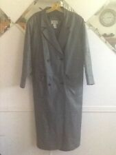 Via Accent Women's Grey Leather Trench Coat Size18