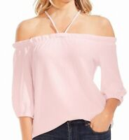 Vince Camuto Womens Blouse Pink Size Small S Crepe Knit Off Shoulder $79 339
