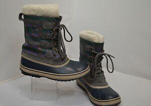 Sorel Womens Size 8 Waterproof Gray Navy Snow Winter Boots Fleece Geometric GUC