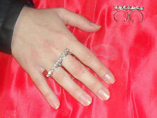 anello doppio dito strass PP29    3 mm AURORA BOREALE bagno ARGENTO made italy