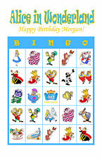 Alice in Wonderland Bingo Personalized Birthday Party Game Bingo Cards